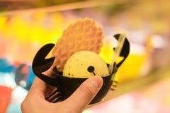 Vainilla del helado en cuenco negro del cangrejo Foto de archivo libre de regalías