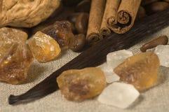 Vainilla, palillos de cinamomo y otras especias e ingredientes imagen de archivo