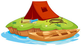 Vaious-Gegenstände für das Kampieren und ein Kanu Stockbilder