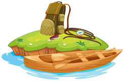 Vaious objects for camping and a canoe. Illustration of vaious objects for camping on an island and a canoe Stock Photo