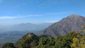 Mountains view at Vaishno devi temple. Vaishno Devi Mandir is a Hindu temple dedicated to the Hindu Goddess, located in Katra at the Trikuta Mountains within the royalty free stock photography
