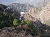 Mountains. Vaishno Devi route through the mountains in Katra, Jammu royalty free stock photos