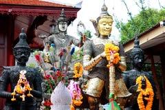 Vaisravana (Vessavana) sculpture in thai temple. Vaisravana (Vessavana) also known as Jambhala, is the name of the chief of the Four Heavenly Kings and an Stock Photo