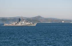 Vaisseau de guerre turc dans les Dardanelles Photographie stock libre de droits