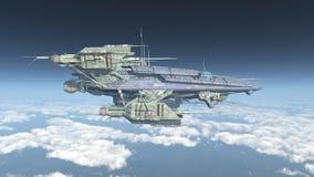 Vaisseau spatial énorme au-dessus des nuages illustration stock