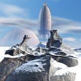 Vaisseau spatial étranger d'UFO illustration libre de droits