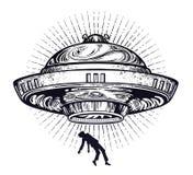 Vaisseau spatial étranger fantastique Abduction d'UFO d'un humain avec l'icône de soucoupe volante illustration de vecteur
