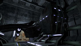 Vaisseau spatial animé dans un couloir futuriste 4K banque de vidéos