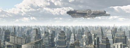 Vaisseau spatial au-dessus d'une ville illustration de vecteur