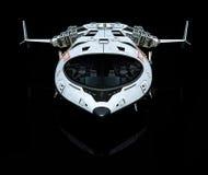 Vaisseau spatial au-dessus de la vue de derrière de nuages Image libre de droits
