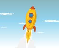 Vaisseau spatial d'or de dessin animé Image libre de droits