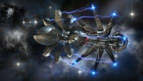 Vaisseau spatial dans le voyage interstellaire Photos stock