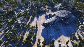 Vaisseau spatial dans une ville futuriste, ville Le concept de l'avenir Silhouette d'homme se recroquevillant d'affaires rendu 3d Photos libres de droits