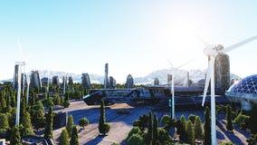 Vaisseau spatial dans une ville futuriste, ville Le concept de l'avenir Silhouette d'homme se recroquevillant d'affaires rendu 3d Photo stock