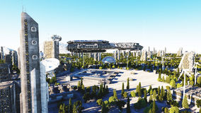 Vaisseau spatial dans une ville futuriste, ville Le concept de l'avenir Silhouette d'homme se recroquevillant d'affaires rendu 3d Image stock