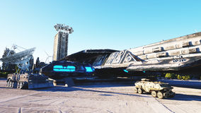 Vaisseau spatial dans une ville futuriste, ville Le concept de l'avenir Silhouette d'homme se recroquevillant d'affaires rendu 3d Images libres de droits