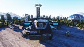 Vaisseau spatial dans une ville futuriste, ville Le concept de l'avenir Silhouette d'homme se recroquevillant d'affaires rendu 3d Photo libre de droits