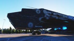 Vaisseau spatial dans une ville futuriste, ville Le concept de l'avenir Silhouette d'homme se recroquevillant d'affaires rendu 3d Photos stock