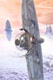 Vaisseau spatial de combattant et ville futuriste illustration libre de droits