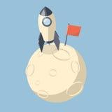 vaisseau spatial de 3D Rocket débarqué sur la lune Image stock