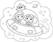 Plan tes de bande dessin e de coloration avec sun et lune illustration de vecteur image 54352945 - Dessin vaisseau spatial ...