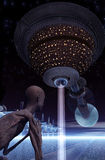 Vaisseau spatial de retours au pays avec l'observateur étranger Illustration de Vecteur