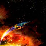Vaisseau spatial et nébuleuse d'un rouge ardent illustration de vecteur