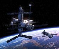 Vaisseau spatial et station spatiale illustration libre de droits