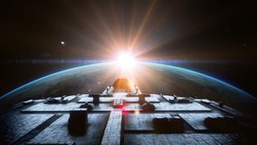 Vaisseau spatial futuriste dans l'espace Animation 4K réaliste illustration libre de droits