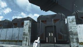 Vaisseau spatial futuriste de cargaison hoovering au-dessus de la prison du sci fi rendu 3d banque de vidéos