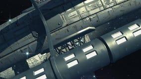 Vaisseau spatial interstellaire près d'une planète étrangère illustration de vecteur