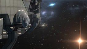 Vaisseau spatial militaire avec des bourdons dans l'espace lointain