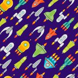 Vaisseau spatial ou Rocket Background Pattern de bande dessinée Vecteur illustration stock