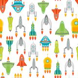 Vaisseau spatial ou Rocket Background Pattern de bande dessinée Vecteur illustration de vecteur