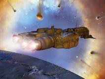 Vaisseau spatial près de nébuleuse d'helice illustration stock