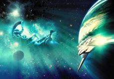 Vaisseau spatial stup?fiant pr?s d'une plan?te dans une vue color?e de n?buleuse dans l'espace lointain photo libre de droits
