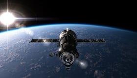 Vaisseau spatial sur l'orbite Images libres de droits