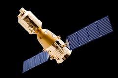 Vaisseau spatial sur le fond noir Images libres de droits