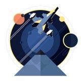 Vaisseau spatial, vaisseau spatial dans l'espace Image libre de droits
