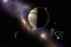 Vaisseau spatial volant à la planète, aux étoiles et à la nébuleuse inconnues dans s externe Illustration Stock