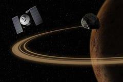 Vaisseau spatial volant à la planète inconnue dans l'espace extra-atmosphérique illustration stock