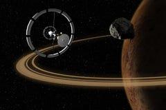 Vaisseau spatial volant à la planète inconnue dans l'espace extra-atmosphérique illustration libre de droits