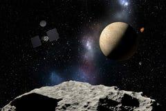 Vaisseau spatial volant à la planète inconnue dans l'espace extra-atmosphérique illustration de vecteur