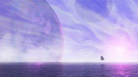 Vaisseaux spatiaux étrangers d'imagination dans le voyage intergalactique illustration de vecteur