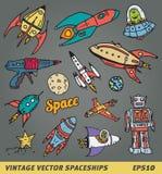 Vaisseaux spatiaux de vintage illustration libre de droits