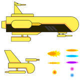 Vaisseaux spatiaux et balles Images stock