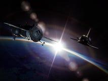 Vaisseaux spatiaux sur l'orbite Images libres de droits