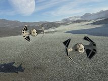 Vaisseaux spatiaux sur la patrouille illustration de vecteur
