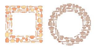 Vaisselle de cuisine colorée dans en rond et groupes de quadrate - vecteur Image stock