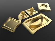 Vaisselle de cuisine d'or Image libre de droits